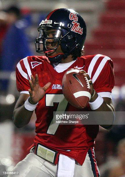 Ole Miss quarterback Brent Schaeffer looks for a recever against Wake Forest at VaughtHemingway Stadium in Oxford Miss on September 23 2006