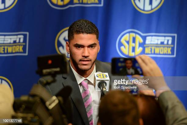 Ole Miss quarterback Jordan Ta'amu answers questions during the 2018 SEC Football Media Days on July 17th 2018 at the College Football Hall of Fame...
