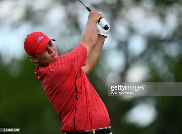 Ole Miss Rebels Braden Thornberry plays the ball from the tee during round four of the 2017 Division I Men's Golf Championships on May 29 2017 at...