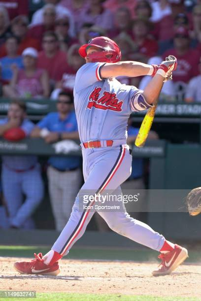 Ole Miss Rebels catcher Cooper Johnson at bat during Game 3 of the NCAA Super Regional baseball game between the Arkansas Razorbacks and Ole Miss...