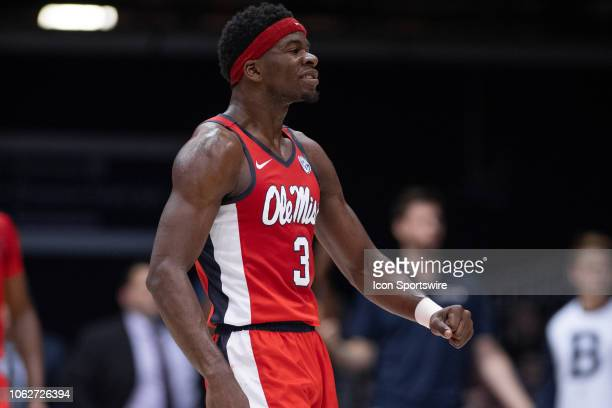 Ole Miss Rebels guard Terence Davis celebrates hitting a three pointer during the men's college basketball game between the Butler Bulldogs and Ole...
