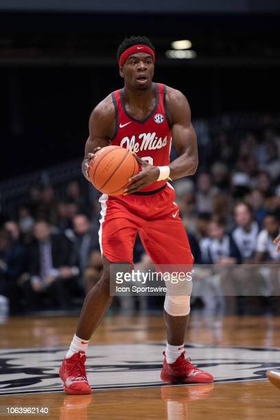 Ole Miss Rebels guard Terence Davis sets up the offense during the men's college basketball game between the Butler Bulldogs and Ole Miss Rebels on...