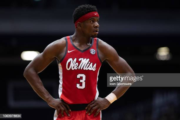 Ole Miss Rebels guard Terence Davis waits on the court during a free throw during the men's college basketball game between the Butler Bulldogs and...
