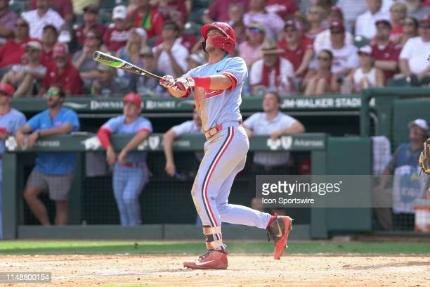 Ole Miss Rebels infielder Grae Kessinger watches as a home run clears the fence during the Fayetteville Super Regional baseball game between the...