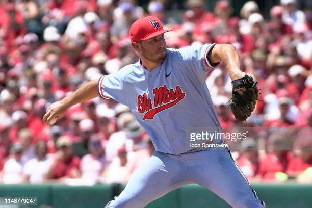 Ole Miss Rebels pitcher Will Ethridge delivers a pitch during the NCAA Super Regional baseball game between the Arkansas Razorbacks and Ole Miss...