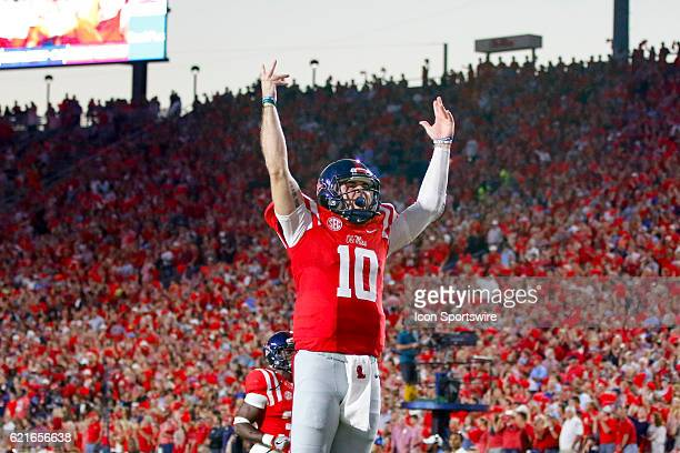 Ole Miss Rebels quarterback Chad Kelly attempts to rally the student section before the football game between Auburn and Ole Miss on October 29 at...