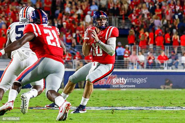 Ole Miss Rebels quarterback Chad Kelly drops back to pass during the football game between Auburn and Ole Miss on October 29 at VaughtHemingway...