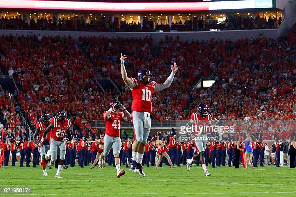 Ole Miss Rebels quarterback Chad Kelly leading the Ole Miss football team on to the field before the football game between Auburn and Ole Miss on...