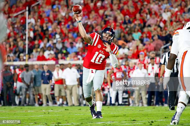 Ole Miss Rebels quarterback Chad Kelly with a pass attempt during the football game between Auburn and Ole Miss on October 29 at VaughtHemingway...