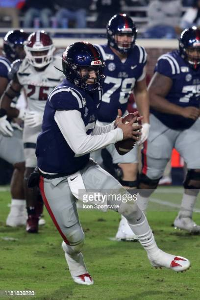 Ole Miss Rebels quarterback John Matt Corral the game between the New Mexico State Aggies and the Ole Miss Rebels on November 9, 2019 at...