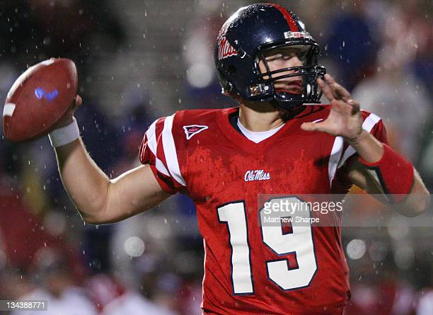 Ole Miss reserve quarterback Seth Adams throws to a receiver against Wake Forest at VaughtHemingway Stadium in Oxford Miss on September 23 2006 Adams...