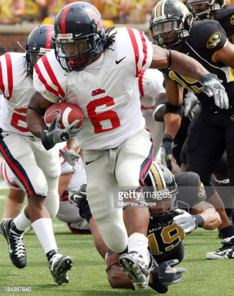 Ole Miss running back BenJarvus Green-Ellis escapes a tackle during the game between the Mississippi Rebels and the Missouri Tigers at Memorial...