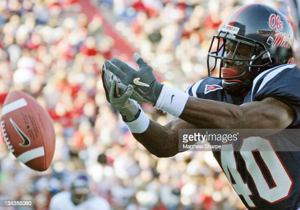 Ole Miss running back Mico McSwain reaches for a pass against Northwestern State at Vaught-Hemingway Stadium in Oxford, Miss. On November 4, 2006....