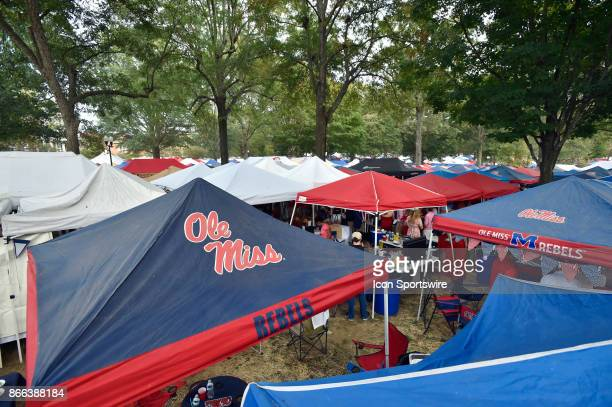 Ole Miss tailgate tents cover the Grove on the Ole Miss campus before the start of a NCAA college football game between the LSU Tigers and...