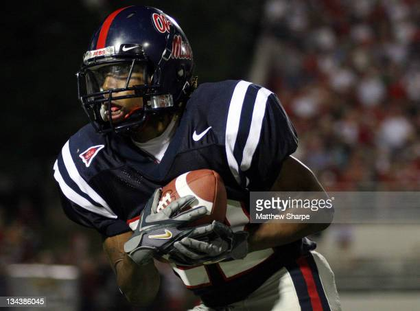 Ole Miss wide receiver Dexter McCluster hauls in a long touchdown pass against Georgia at Vaught-Hemingway Stadium in Oxford, Miss. On September 30,...