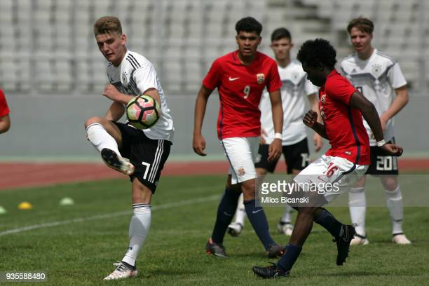 Ole Pahlmann of Germany in action during the Germany vs Norway U17 at Pampeloponnisiako Stadium on March 21 2018 in Patras Greece