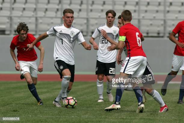 Ole Pohlmann of Germany in action during the Germany vs Norway U17 at Pampeloponnisiako Stadium on March 21 2018 in Patras Greece