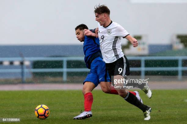 Ole Pohlmann of Germany U16 challenges Mathieu Goncalves of France U16 during the UEFA Development Tournament Match between Germany U16 and France...