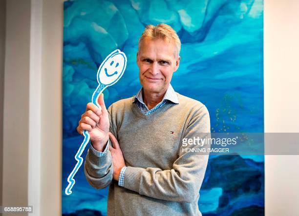 Ole Schou founder and director of Cryos the biggest sperm bank worldwide gives a tour of the Cyros center in Aarhus December 15 2016 / AFP PHOTO /...