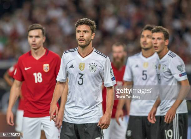 Ole Selnaes of Norway Jonas Hector Mats Hummels Leon Goretzka of Germany during the FIFA 2018 World Cup Qualifier between Germany and Norway at...