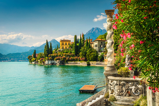 Oleander flowers and villa Monastero in background, lake Como, Varenna 908964390