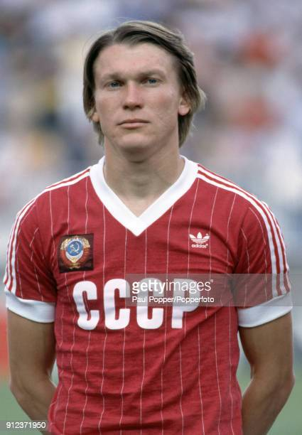 Oleg Blokhin of USSR prior to the FIFA World Cup match between the Soviet Union and New Zealand at La Rosaleda Stadium in Malaga 19th June 1982 USSR...