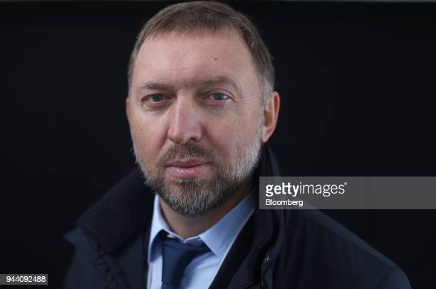 Oleg Deripaska billionaire and chief executive officer of United Co Rusal poses for a photograph following a Bloomberg Television interview on day...