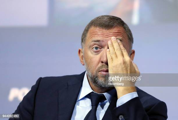 Oleg Deripaska billionaire and president of United Co Rusal gestures while attending a panel session on the opening day of the VTB Capital Investment...