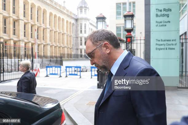 Oleg Deripaska billionaire and president of United Co Rusal Plc leaves after attending the court hearing on MMC Norilsk Nickel PJSC at The Rolls...