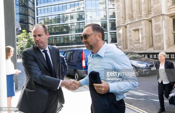 Oleg Deripaska billionaire and president of United Co Rusal Plc right arrives to attend the court hearing on MMC Norilsk Nickel PJSC at The Rolls...