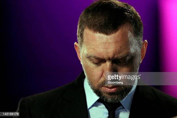 Oleg Deripaska chief executive officer of United Co Rusal pauses during a Bloomberg Television interview in London UK on Friday April 20 2012 OAO...