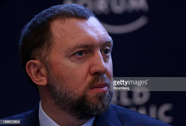 Oleg Deripaska chief executive officer of United Co Rusal pauses during a forum session on the opening day of the World Economic Forum in Davos...