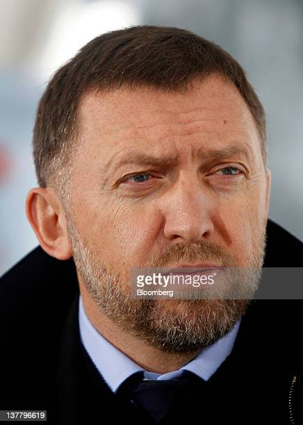 Oleg Deripaska chief executive officer of United Co Rusal speaks during a television interview on day three of the World Economic Forum in Davos...