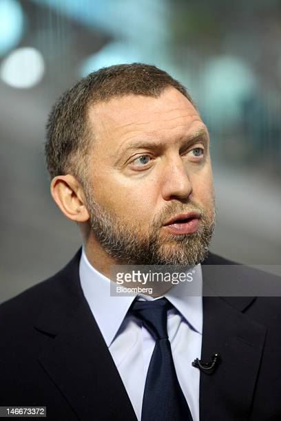 Oleg Deripaska chief executive officer of United Co Rusal speaks during a Bloomberg Television interview on day two of the Saint Petersburg...