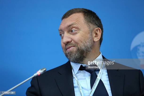 Oleg Deripaska Russian billionaire and chief executive officer of United Co Rusal reacts during a conference session on the opening day of the St...