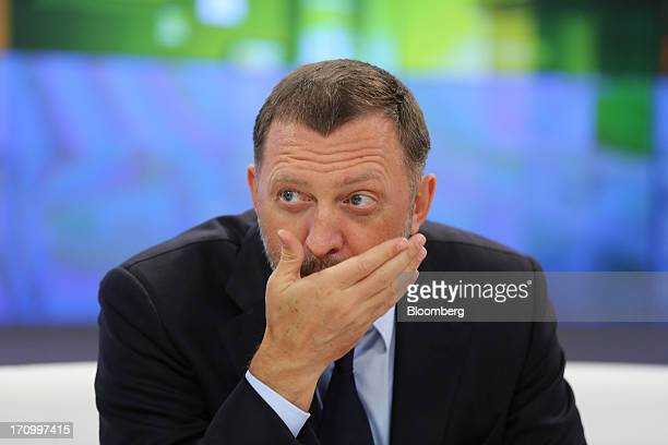 Oleg Deripaska Russian billionaire and chief executive officer of United Co Rusal gestures on the opening day of the St Petersburg International...