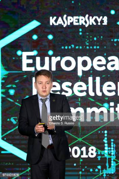 Oleg Glebov holds a speech at the Kaspersky Lab European Reseller Summit 2018 on June 12 2018 in Milano Marittima Cervia Italy Kaspersky Lab held its...