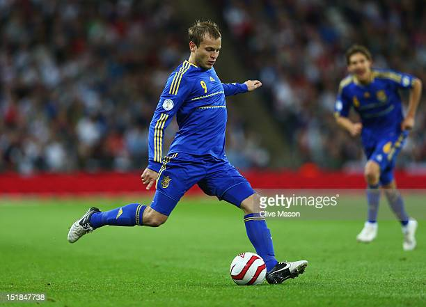 Oleg Gusev of Ukraine in action during the FIFA 2014 World Cup Group H qualifying match between England and Ukraine at Wembley Stadium on September...