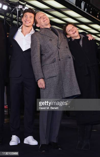 """Oleg Ivenko, Ralph Fiennes and Gabrielle Tana attend the UK Premiere of """"The White Crow"""" at The Curzon Mayfair on March 12, 2019 in London, England."""