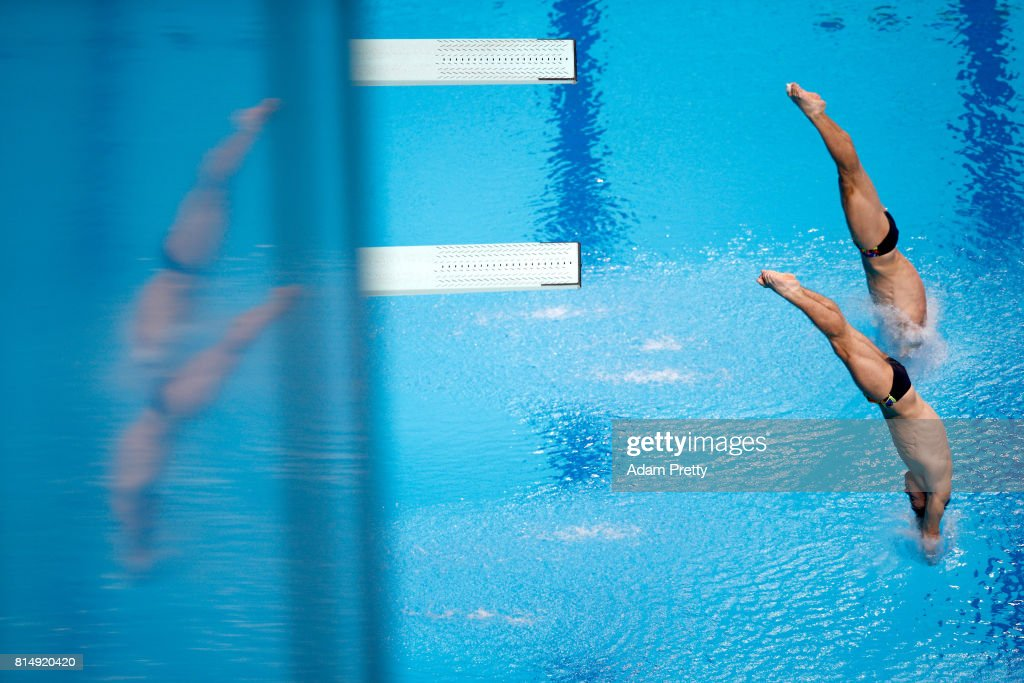 Oleg Kolodiy of Ukraine and Illya Kvasha of Ukraine competes during the Men's Diving 3m Sychro Springboard Final on day two of the Budapest 2017 FINA World Championships on July 15, 2017 in Budapest, Hungary.