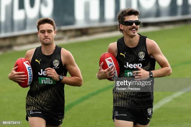 Oleg Markov runs during a Richmond Tigers AFL training session at Punt Road Oval on December 4 2017 in Melbourne Australia