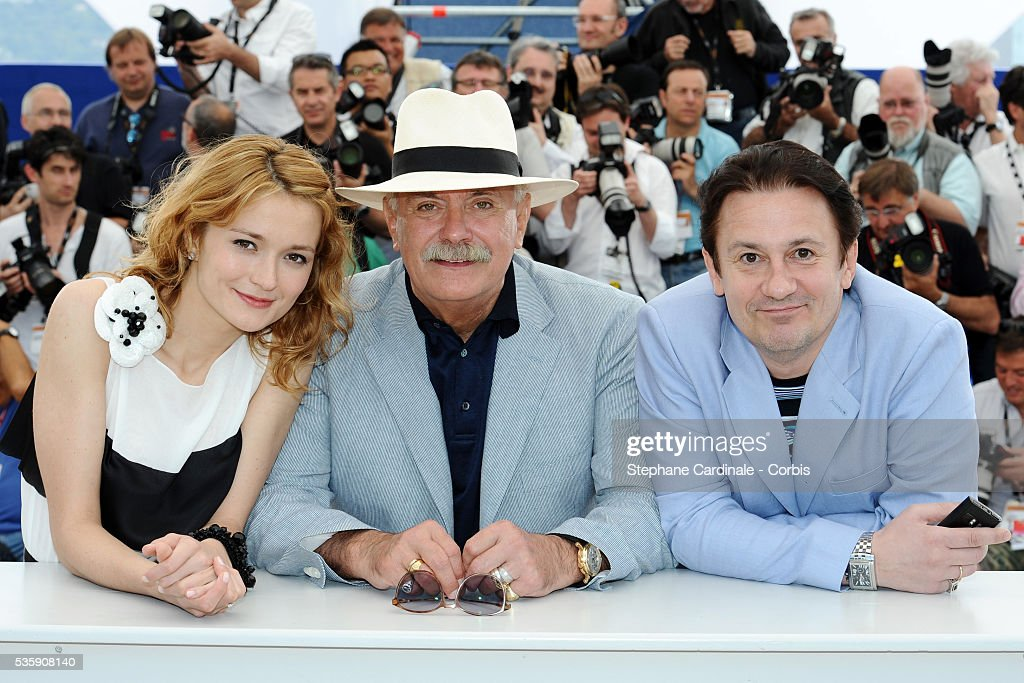 Oleg Menshiko, Nadezhda Mihalkova and Nikita Mikhalkov attend the 'The Exodus - Burnt By The Sun 2' Photocall during the 63rd Cannes International Film Festival.