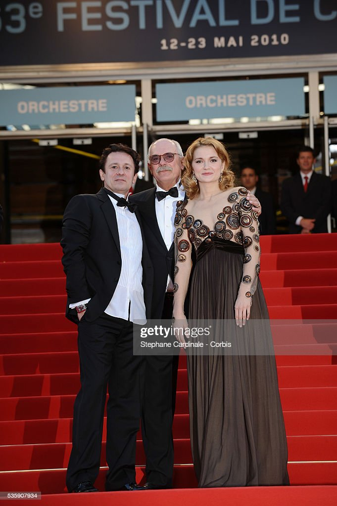 Oleg Menshikov, Nikita Mikhalkov and Nadezhda Mihalkova attend the premiere for 'The Exodus - Burnt By The Sun 2' during the 63rd Cannes International Film Festival.