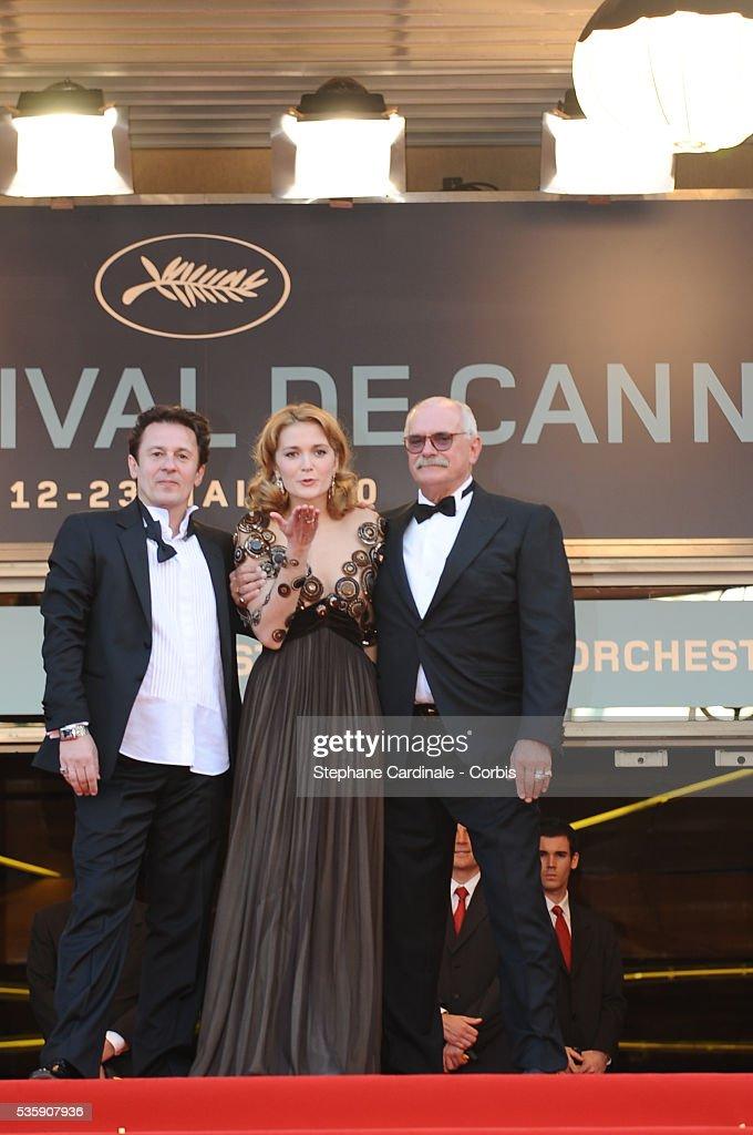 Oleg Menshikov, Nikita Mikhalkov and Nadezhda Mihalkova attend the premiere for 'The Exodus - Burnt By The Sun 2' during the 63rd Cannes International Film Festival.