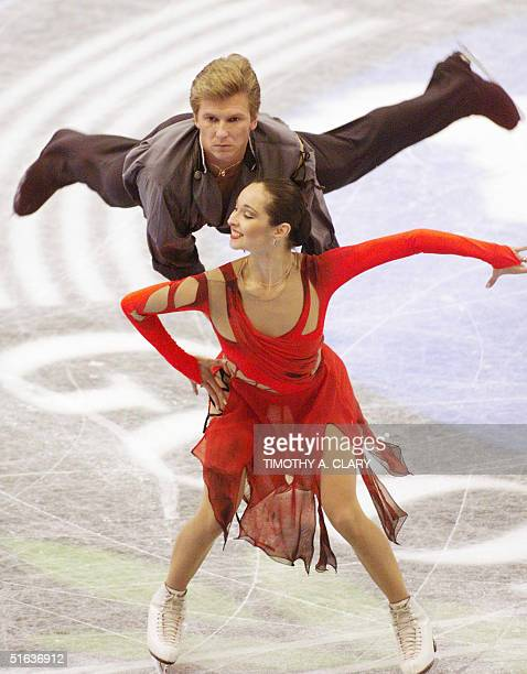 Oleg Ovsiannikov and Anjelika Krylova of Russia perform part of their gold medal winning routine free dance program during the 1998 Goodwill Games...