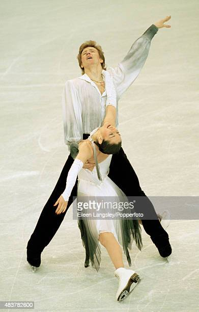 Oleg Ovsyannikov and Anjelika Krylova of Russia performing in the Ice Dancing event during the Winter Olympic Games in Nagano Japan circa February...