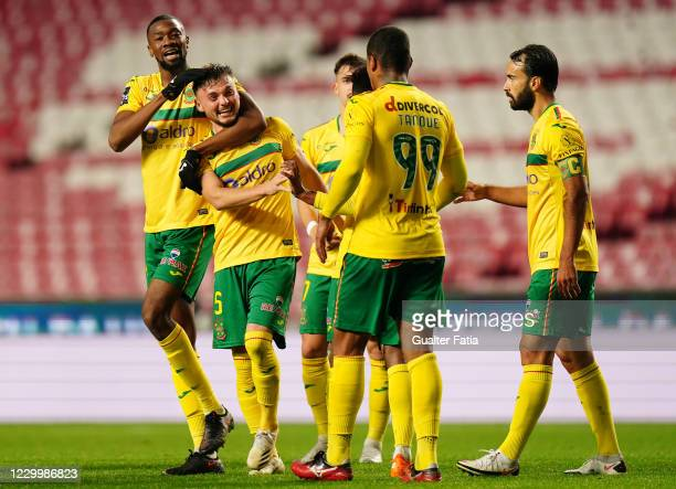 Oleg Reabciuk of FC Pacos de Ferreira celebrates with teammates after scoring a goal during the Liga NOS match between SL Benfica and FC Pacos de...