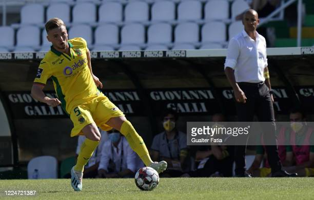 Oleg Reabciuk of FC Pacos de Ferreira in action during the Liga NOS match between Vitoria FC and FC Pacos de Ferreira at Estadio do Bonfim on July 4,...
