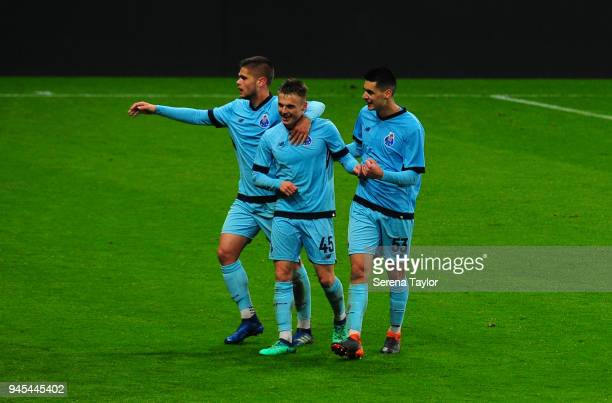 Oleg Reabciuk of FC Porto celebrates after he scores the only goal during the Premier League International Cup match between Newcastle United and...