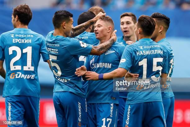 Oleg Shatov of FC Zenit Saint Petersburg celebrates his goal with teammates during the Russian Premier League match between FC Zenit Saint Petersburg...